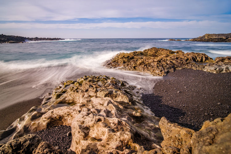 Waves and rocks at the volcanic based coast of Lanzarote Sea Water Land Rock Beauty In Nature Beach Solid Rock - Object Motion Scenics - Nature Sky Horizon Over Water Horizon Wave Nature Cloud - Sky No People Sport Aquatic Sport Outdoors Power In Nature Rocky Coastline Breaking Lanzarote Lanzarote Island Lanzarote-Canarias Lanzarote Collection Coast Coastline Coastline Landscape Seascape Waterscape Wave Waves Waves, Ocean, Nature Ocean Ocean View Ocean Photography Atlantic Ocean Beachphotography Beach Photography