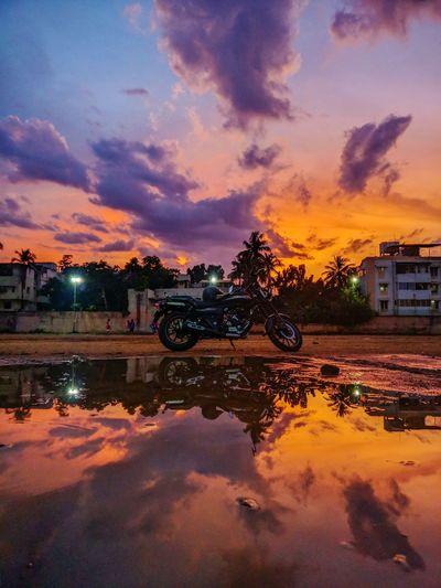 Shotononeplus3 Cloud - Sky Touring Bikes Sunset Orange Sky