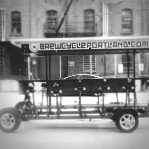 This damn thing. Ridiculous. Ever see it? Brewerybicycle Brewerybikepdx Portlandblackandwhite Blackandwhite WTF LOL Photography Velo Brewcycle Pearl District