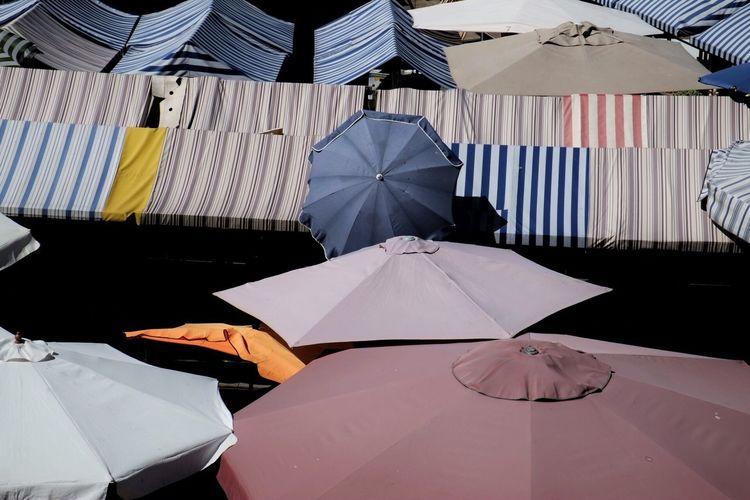 High angle view of umbrellas