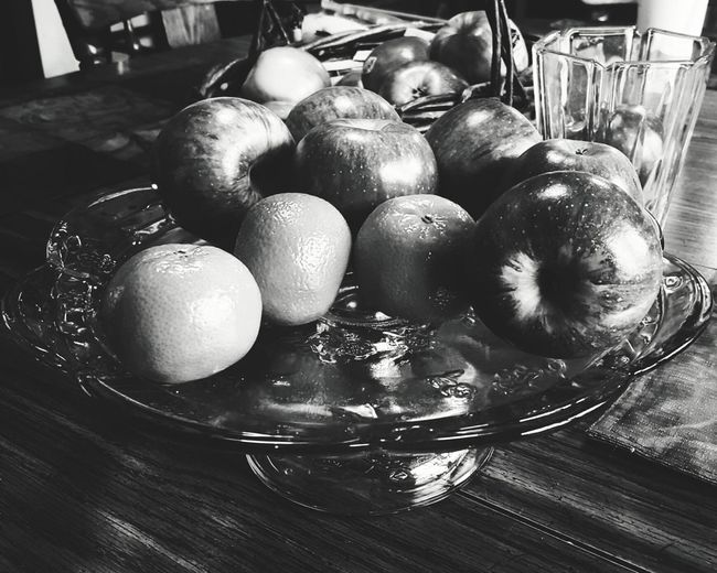 Apples And Oranges Fruit Black And White Black And White Photography Black And White Fruit Table Glass Plate Platter Mobile Photography VSCO Fruit On The Table Food On The Table Showcase: February Interior Views
