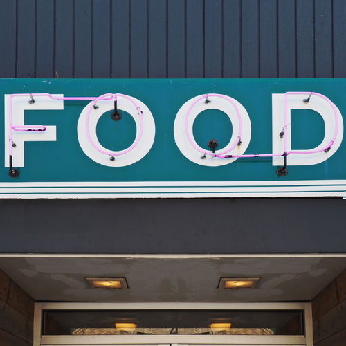 Restaurant Neon Sign Architecture Blue Building Building Exterior Built Structure Communication Day Food Information Lighting Equipment Restaurant Restaurant Door Restaurant Entrance Shape Sign Text Turquoise Colored Western Script
