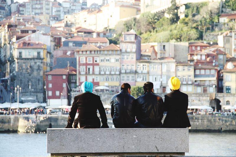 Rear View Of Men In City