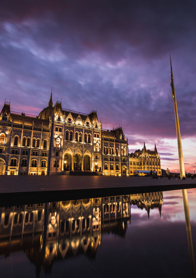 hungarian parliment building from behind, kossuth square at a colorful sunset Building Exterior Sky Architecture Built Structure Cloud - Sky Reflection Water Travel Destinations Dusk Nature Waterfront Illuminated Building City Tourism Night No People Standing Water Government Spire  Parliament Capital Cities  Reflection Tourist Attraction