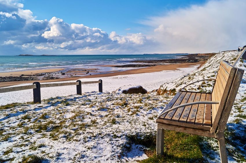 Cullenstown Beach in Wexford Ireland covered in snow. Cullenstown Ireland🍀 Peace And Quiet Wexford Ireland Winter Beach Beauty In Nature Bench With A View Cloud - Sky Day Horizon Over Water Nature No People Outdoors Sand Scenics Sea Shore Sky Snow Tranquil Scene Tranquility Vacations Water Wave