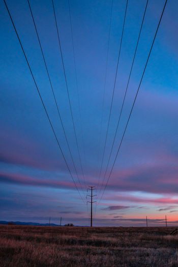 Boulder Colorado USA United States Mountains Electricity Pylon Sky Electricity  Cable Power Line  Power Supply Technology Fuel And Power Generation Connection Cloud - Sky Landscape No People Dusk Nature Environment Field Scenics - Nature Sunset Blue Land Outdoors Romantic Sky