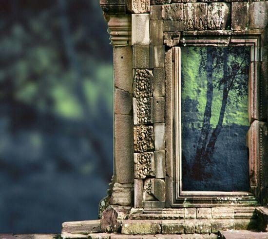 Brick Brickwall Windowframe Abstract Trees Pip-camera WallpaperForMobile Poster Blue Hue Greenhue Blur