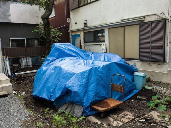 Abandoned Blue Sheet Garbage Garbage Bag Japan No People Outdoors Tokyo