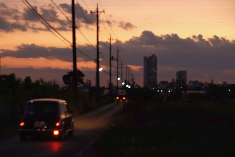 Sunset Sky Car Road No People Outdoors Evening Evening Sky Evening Glow Traffic Traffic Lights Travel Travelling Photography Traveling Japan Streetphotography Street Photography Bokeh Photography Bokeh Bokeh Lights