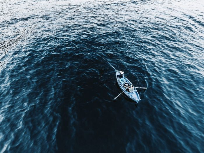 Flying High Sea Water Nautical Vessel Waterfront Nature Beauty In Nature Dronephotography Day One Person People