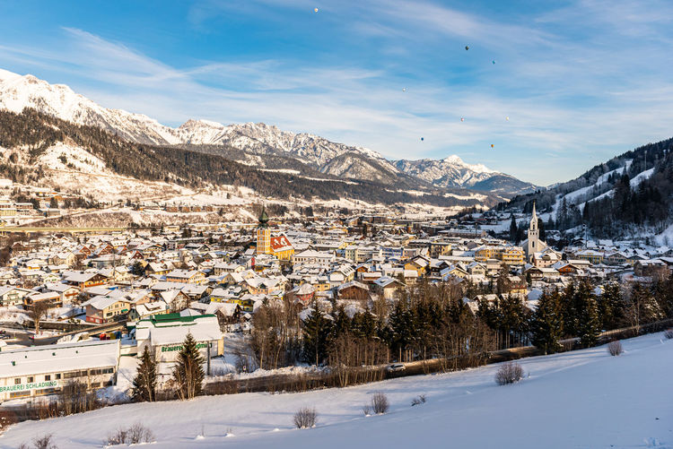 The baloons over schladming - skiing heart of the schladming dachstein region, styria, austria