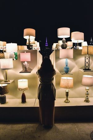 Lamps Real People Rear View One Person Illuminated Standing Night Indoors  Leisure Activity City Reflection Full Length Nature Built Structure Lifestyles Adult Men Women Architecture