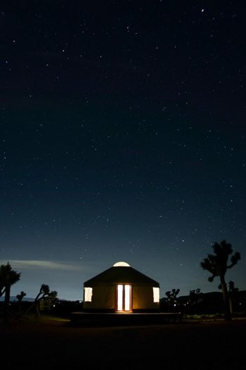 The Great Outdoors - 2017 EyeEm Awards Built Structure Building Exterior Architecture Sky No People Night Astronomy Outdoors Star - Space Beauty In Nature Tree Nature Joshua Tree National Park Yurt Astrophotography
