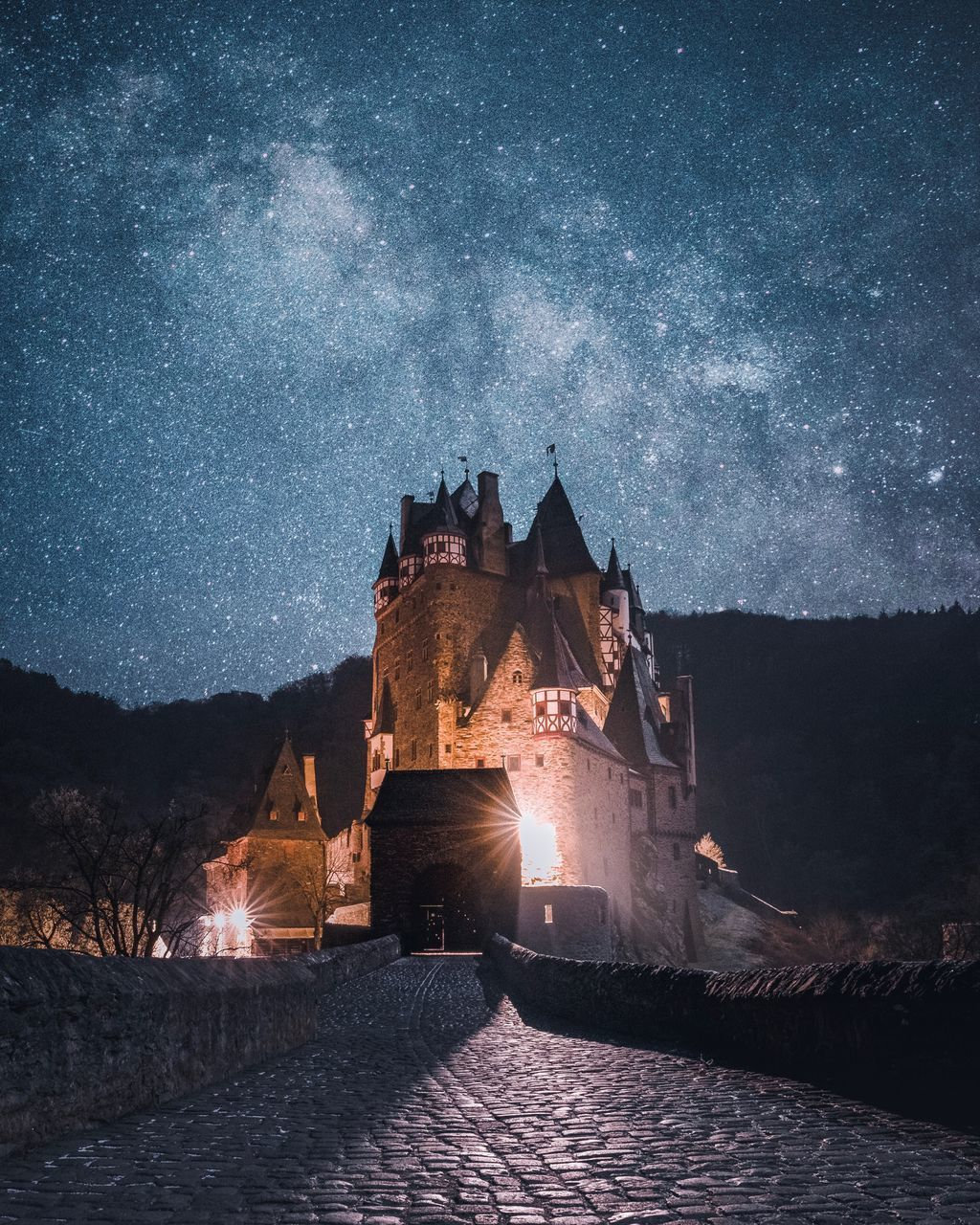 night, architecture, star - space, astronomy, sky, building exterior, space, illuminated, nature, built structure, building, no people, scenics - nature, galaxy, water, star field, star, dusk, tree, outdoors