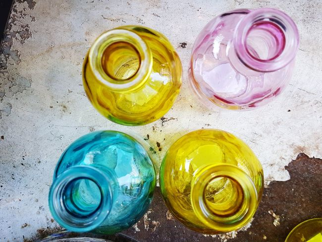 High Angle View Variation Multi Colored Bottle Glass Glass - Material Glassware Glass Bottles Glass Objects  Colourful Glass Bottles Multi-coloured Coloured Coloured Glass Bottles Large Group Of Objects Creativity