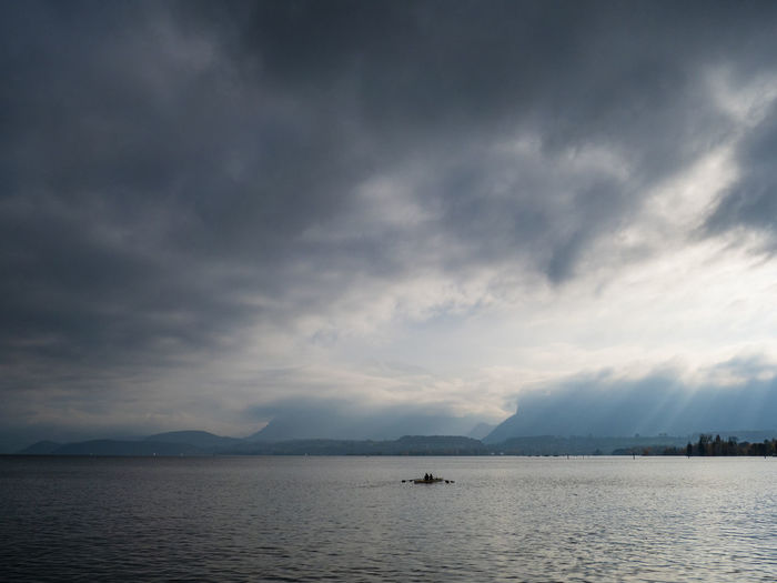 Hello Autumn Water Sky Cloud - Sky Sea Scenics - Nature Beauty In Nature Nautical Vessel Tranquility Tranquil Scene Waterfront Nature No People Storm Transportation Overcast Non-urban Scene Outdoors Dusk Sailboat Schadaupark Thoune Dramatic Sky Switzerland Thun