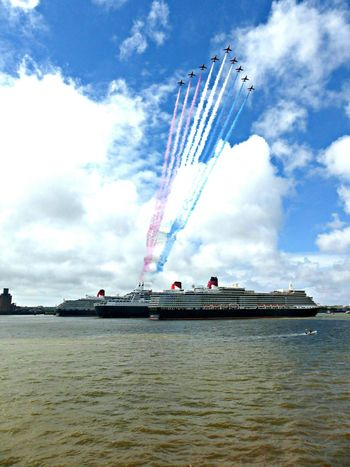 Airshow Transportation Queen Victoria  Sky Mode Of Transport Cloud - Sky Vapor Trail Outdoors Day Water Sea Airplane Nautical Vessel Queen Elizabeth  Smoke - Physical Structure Air Vehicle No People Curnard Cruise Ship Cruise Liverpool England Mersey Three Queens Queen Mary 2