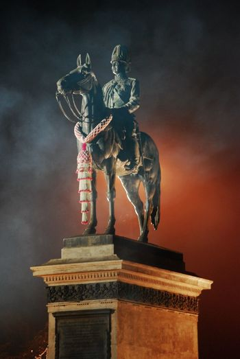 Equestrian statue of king chulalongkorn rama v at night