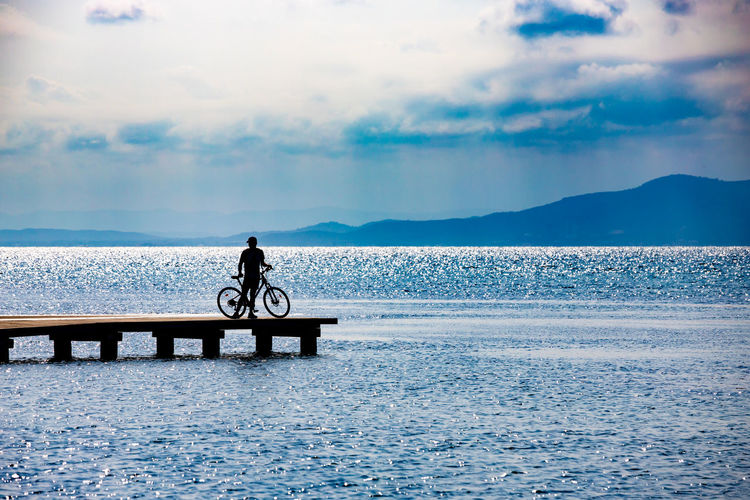 Delta De L'Ebre Bike Bike And Sea Bike On A Brige Bike On A Dock Bike On A Pier Bike On The Sea Biker Real People Scenics - Nature Sky Tranquility My Best Travel Photo