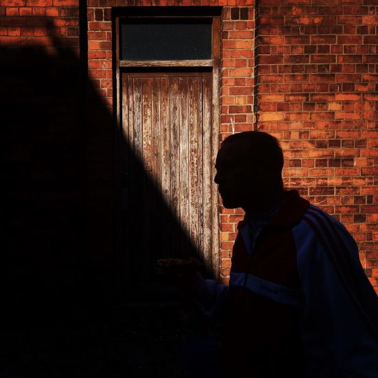 Gloucester Man Shadow Silhouette Brick Wall Door Street Streetphotography Bull Lane Light And Shadow