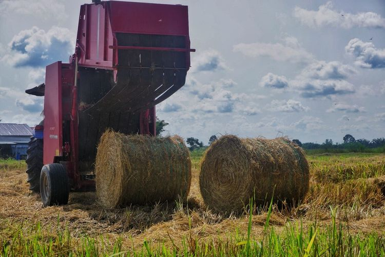 Round Baler With Hay Bales On Agricultural Field