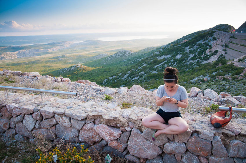 Adult Adults Only Adventure Croatia Croatia Nature Day Full Length Leggings Mid Adult Mid Adult Women Mountain Nature Nature One Person One Woman Only Only Women Outdoors People Sitting Tranquil Scene Tranquility Travel Destinations Travel Photography