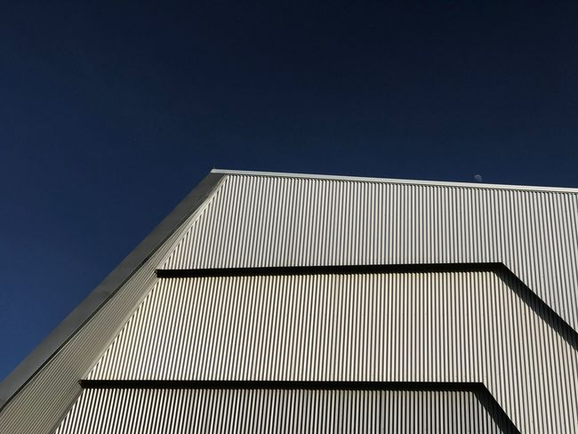 Moonrise Architecture Abstract Geometric Lines Moon Architecture Built Structure Building Exterior Low Angle View Sky No People Building Modern Blue Clear Sky Day Pattern Outdoors City Metal Wall - Building Feature