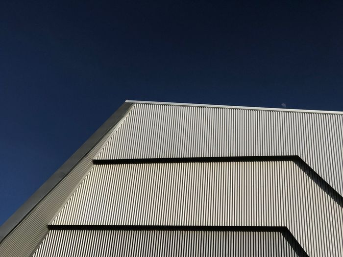 Moonrise Architecture Abstract Geometric Lines Moon Architecture Built Structure Building Exterior Low Angle View Sky No People Building Modern Blue Clear Sky Day Pattern Outdoors City Metal Wall - Building Feature The Architect - 2019 EyeEm Awards