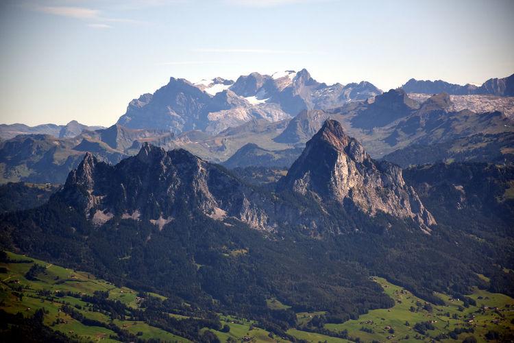 Panoramic landscape view from the top of rigi klum, mount rigi in switzerland