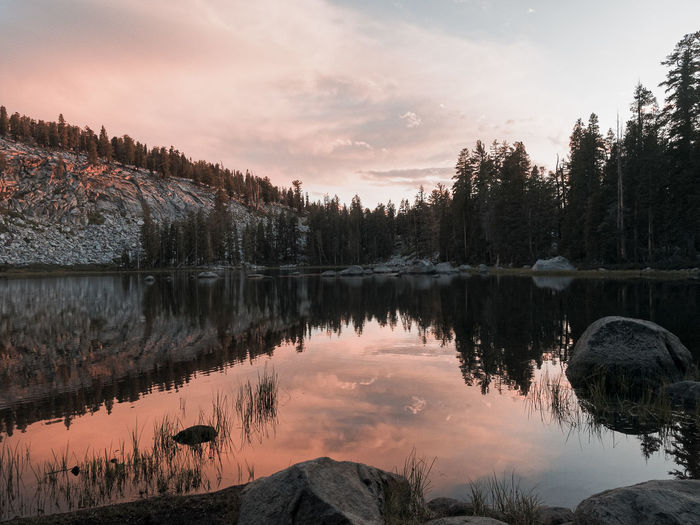 Beauty In Nature California Calm Cloud Idyllic Lake Lakeshore Landscape Majestic Mountain Nature Non Urban Scene Non-urban Scene Outdoors Reflection Scenics Sequoia National Park Sky Standing Water Sunset Tranquil Scene Tranquility Travel Destinations Tree Water