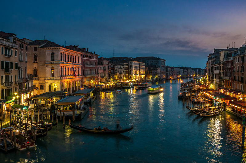 Grand Canal Venice Architecture Boat Building Building Exterior Canal City City Life Grand Canal Venice Illuminated Mode Of Transport Nautical Vessel Night Night Photography Outdoors Reflection Sky Tourism Travel Destinations Water Waterfront