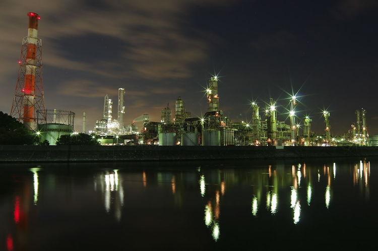 工場夜景 Night Business Finance And Industry Reflection Factory No People Architecture