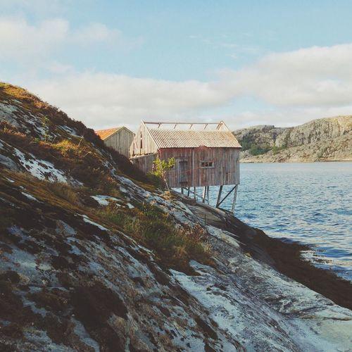 Travel Traveling Nature Norway House Boathouse Sea Peace Coast Coastline