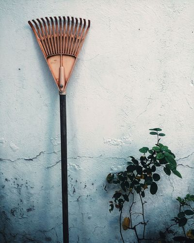 Rake against concrete wall