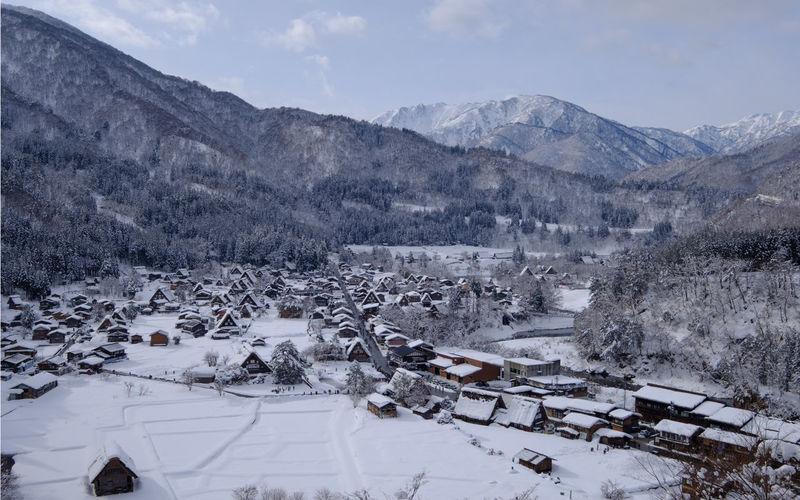 High angle view of ski lift over mountains