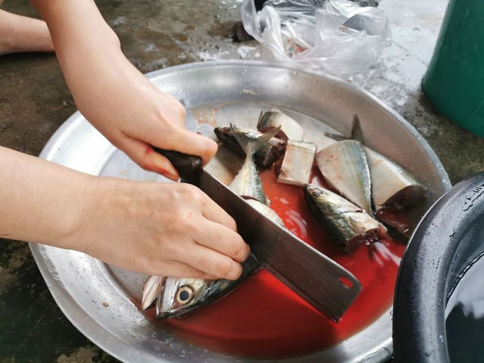 High angle view of person preparing fish in container