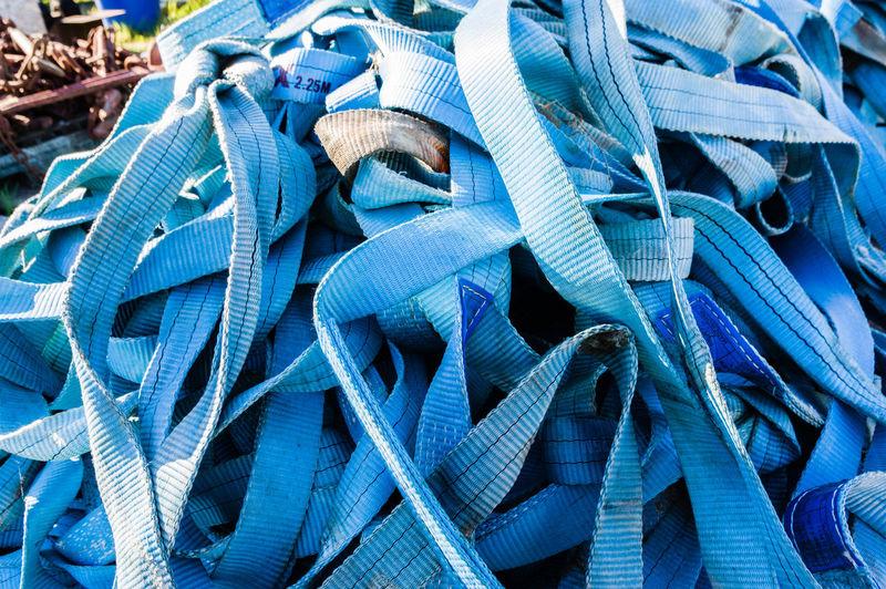 Full frame shot of blue ropes