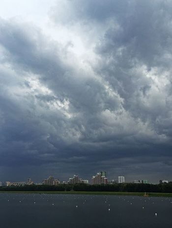 Landscape Water Clouds And Sky Rainy Day Canoe Neighborhood Map Moscow Krylatskoe Rowing Canal