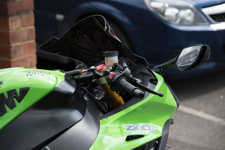 Akrapovic Close-up Day Focus On Foreground Helmet Kawasaki Land Vehicle Leisure Activity Lifestyles Mode Of Transport Motorcycle Outdoors Part Of Selective Focus Stationary Transportation Zx10r
