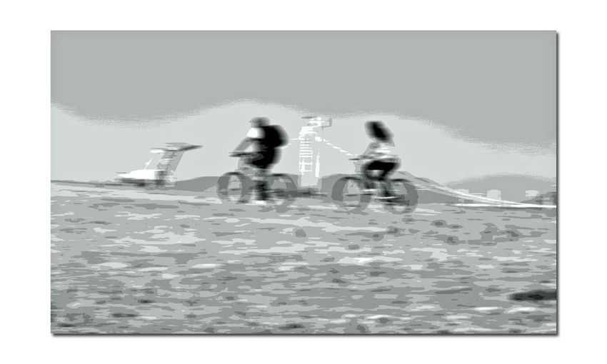 Middle Harbor 4 Port Of Oakland, Ca. Bicyclists Bicycles New Tower Of Bay Bridge Bay Bridge Abstract Abstract Rendering Blurred Effect Motion Blur Effect New Tower Of Eastern Span Port Cranes Open Field Leisure Activity Cycling Couple Riding Bikes Enjoying Life Monochrome Grayscale Black & White Black And White Photography Black And White Black And White Collection