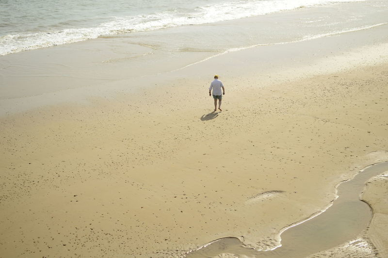 High Angle View Of Man Walking At Beach On Sunny Day