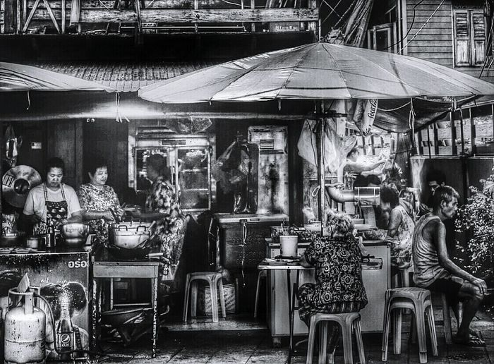 Waiting For Lunch Bangkok Thailand Black & White Streetphotography