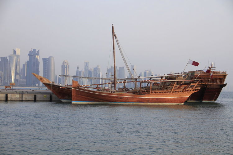 Architecture Building Exterior Built Structure City Day Dhow Dhow Boat Dhowcruise Doha Freight Transportation Mode Of Transport Nature Nautical Vessel No People Outdoors Sea Sky Transportation Water Waterfront