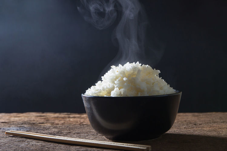Hot Rice Smoke Black Background Close-up Food Food And Drink Nutrition Oriental Smoke - Physical Structure Still Life Studio Shot Table