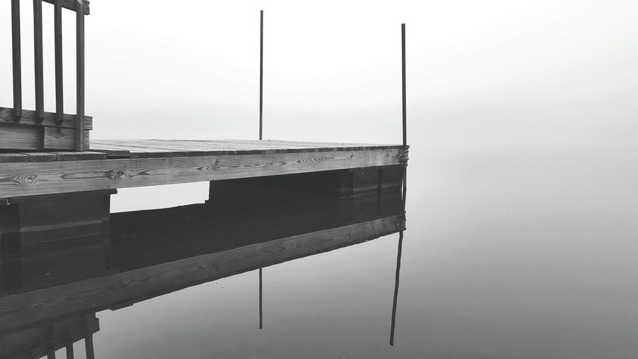 Dreamscape Negative Space Samsung Galaxy Note 5 Empty Space EyeEm Nature Lover EyeEm New Jersey Samsungphotography Dull But Beautiful New Jersey Photography Fog Foggy Day Foggy Lake Reflection Water Reflection Black And White Collection  United States B&w Nature B&W Collection B&w Photography B&w Water Outdoors Waterfront No People Lake Built Structure Architecture Nature