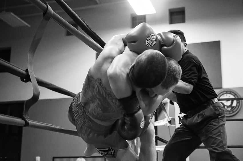 Elite Standup Strikers event in Springfield, Oregon, Feb. 13th 2016, featuring Ming Freeman and Jake Ramsey in the main event fight. Blackandwhite Boxing Fight MuayThai Occupation Ringside Sports Photography Thaiboxing