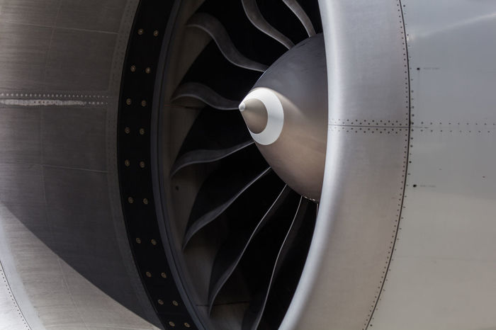 Ge90 Jet Engine Aviation Close-up Curve Diminishing Perspective Engine Jet Modern No People Part Of Power Spiral Turbofan White