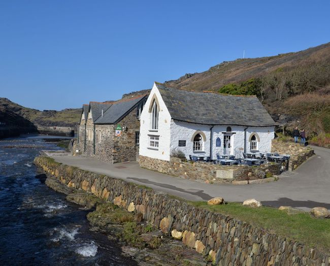 Quant buildings in Boscastle Cornish Coast Cornish Village Cornwall Cliffs Old Buildings Boscastle Sky Architecture Built Structure Clear Sky Building Exterior Nature Scenics - Nature Land Tranquility Sunlight Building Outdoors Day Water