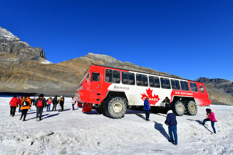 Massive Ice Explorers, designed for glacier travel, take tourists onto the surface of the Athabasca Glacier Columbia Icefields, Canada. Winter Snow Cold Temperature Mountain Group Of People Nature Real People Clear Sky Sky Day Environment Leisure Activity Scenics - Nature People Lifestyles Copy Space Beauty In Nature Explorers Canada Columbia Icefields Glacier Jasper National Park Destination Canadian Athabasca Glacier