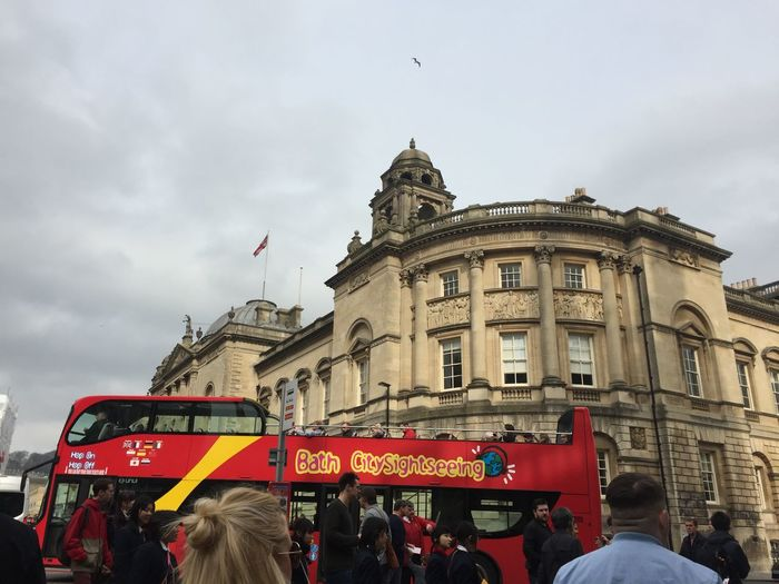 City Architecture Bath Beauty In Nature Birds Buiildings Building Building Exterior Buildings Built Structure Church City City Life Cityscape Cloud - Sky Day Grey Sky Open Air Bus Outdoors Pretty Red Bus Religious Architecture Seagull Seagulls Sky